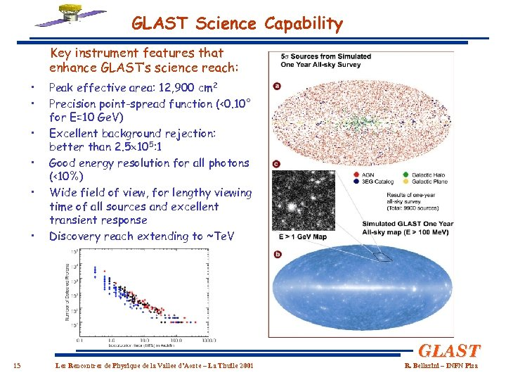 GLAST Science Capability Key instrument features that enhance GLAST's science reach: • • •