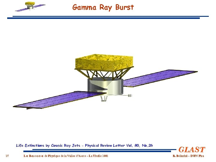 Gamma Ray Burst GRBs are the most intense and most distant (z ~ 4.