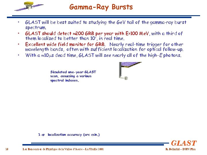 Gamma-Ray Bursts • • GLAST will be best suited to studying the Ge. V