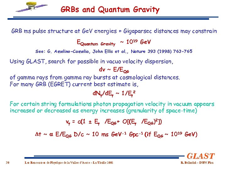 GRBs and Quantum Gravity GRB ms pulse structure at Ge. V energies + Gigaparsec