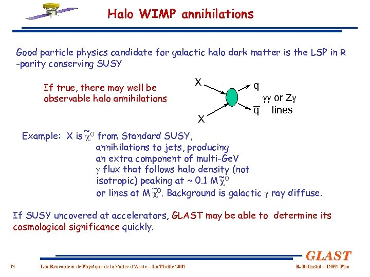 Halo WIMP annihilations Good particle physics candidate for galactic halo dark matter is the