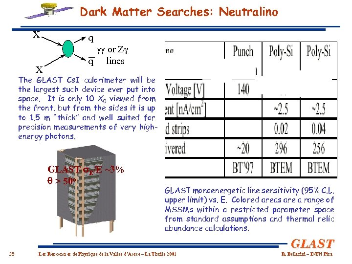 Dark Matter Searches: Neutralino X X q or Z q lines The GLAST Cs.