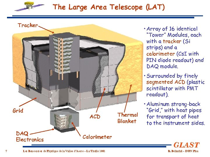 "The Large Area Telescope (LAT) Tracker • Array of 16 identical ""Tower"" Modules, each"