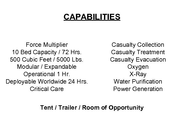 CAPABILITIES Force Multiplier 10 Bed Capacity / 72 Hrs. 500 Cubic Feet / 5000