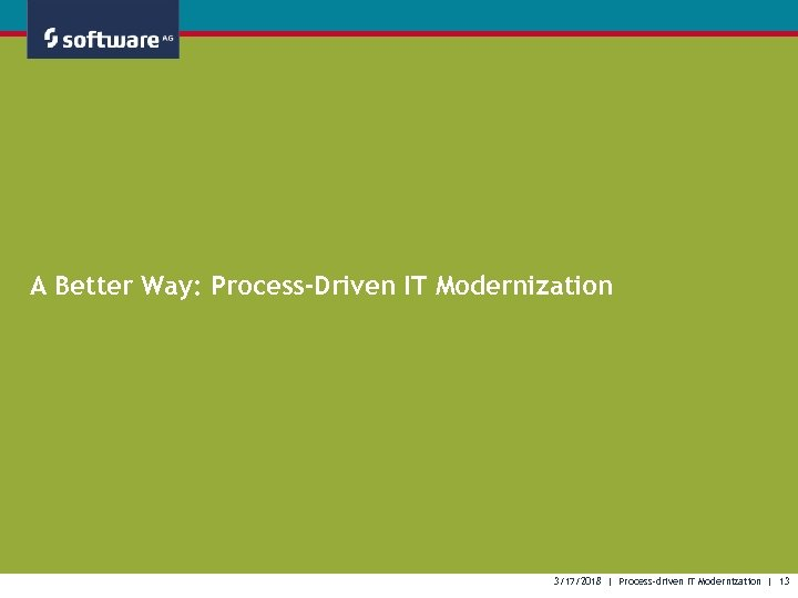 A Better Way: Process-Driven IT Modernization 3/17/2018 | Process-driven IT Modernization | 13