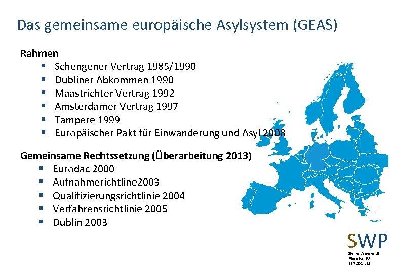 Das gemeinsame europäische Asylsystem (GEAS) Rahmen § Schengener Vertrag 1985/1990 § Dubliner Abkommen 1990