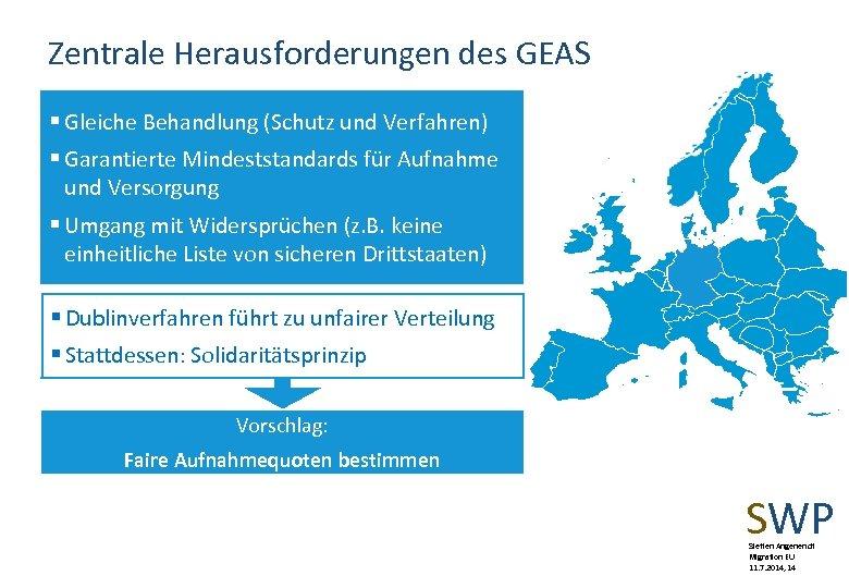Zentrale Herausforderungen des GEAS § Gleiche Behandlung (Schutz und Verfahren) § Garantierte Mindeststandards für