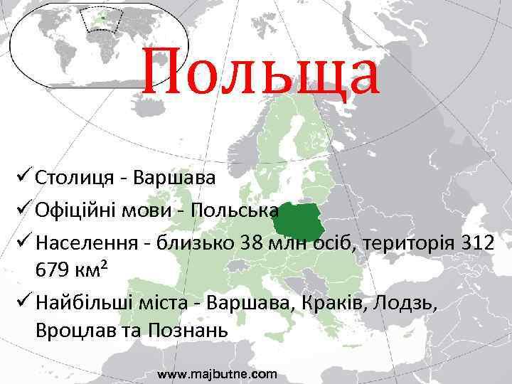 Польща ü Столиця - Варшава ü Офіційні мови - Польська ü Населення - близько
