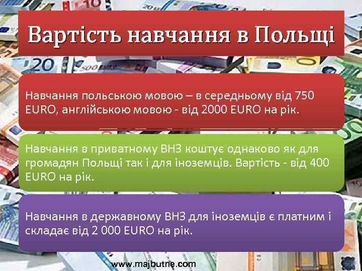 Вартість навчання в Польщі Навчання польською мовою – в середньому від 750 EURO, англійською