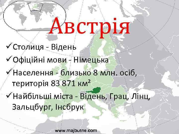 Австрія üСтолиця - Відень üОфіційні мови - Німецька üНаселення - близько 8 млн. осіб,