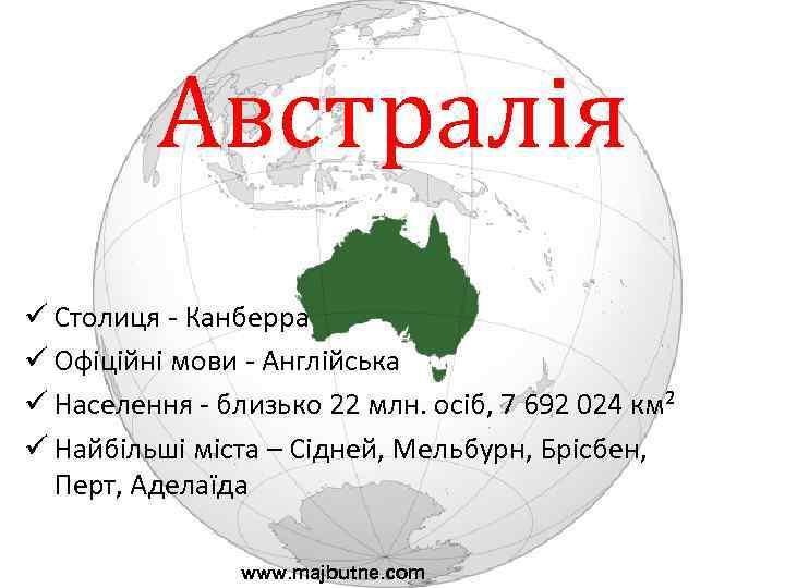 Австралія ü Столиця - Канберра ü Офіційні мови - Англійська ü Населення - близько