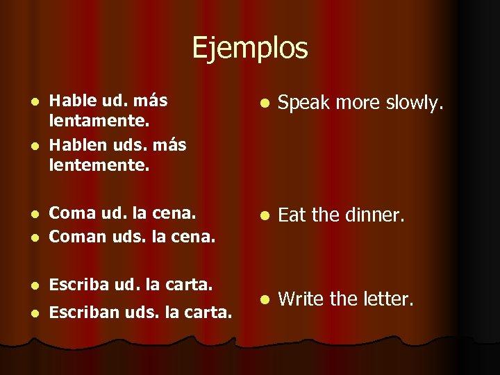 Ejemplos l Hable ud. más lentamente. l Hablen uds. más lentemente. l Speak more