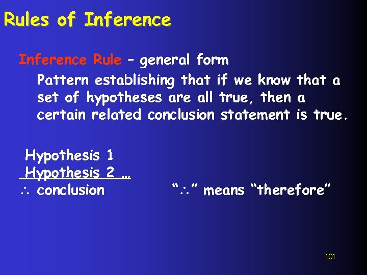 Rules of Inference Rule – general form Pattern establishing that if we know that