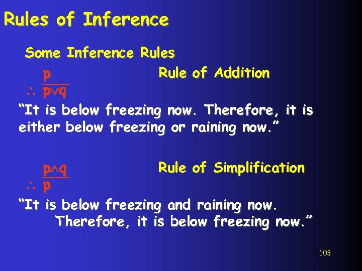 """Rules of Inference Some Inference Rules p Rule of Addition p q """"It is"""