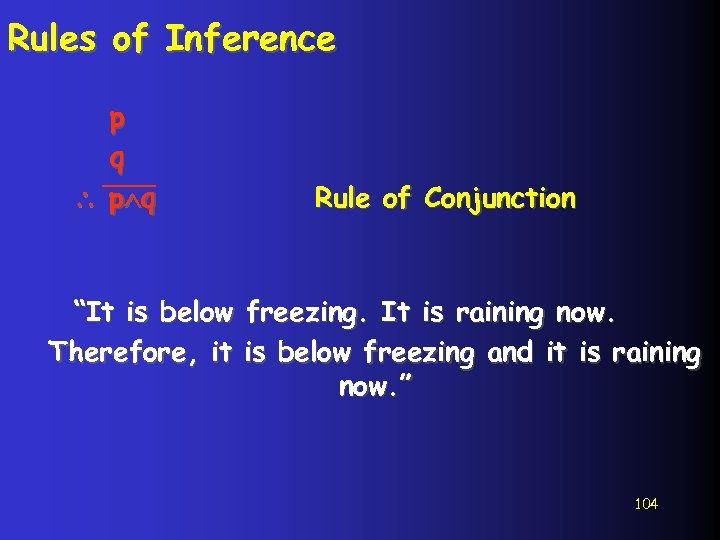 """Rules of Inference p q Rule of Conjunction """"It is below freezing. It is"""