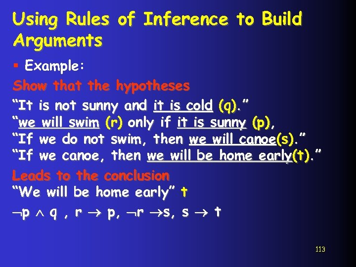 """Using Rules of Inference to Build Arguments § Example: Show that the hypotheses """"It"""