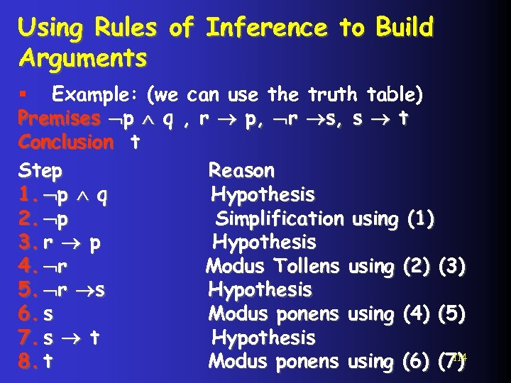 Using Rules of Inference to Build Arguments § Example: (we can use the truth