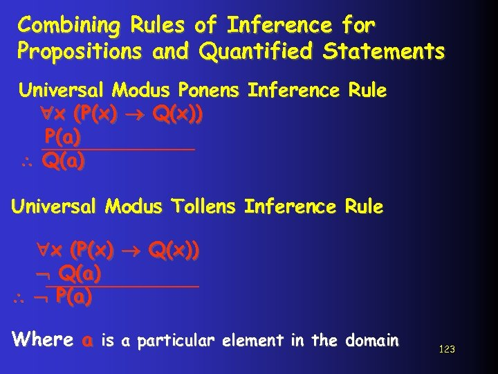 Combining Rules of Inference for Propositions and Quantified Statements Universal Modus Ponens Inference Rule