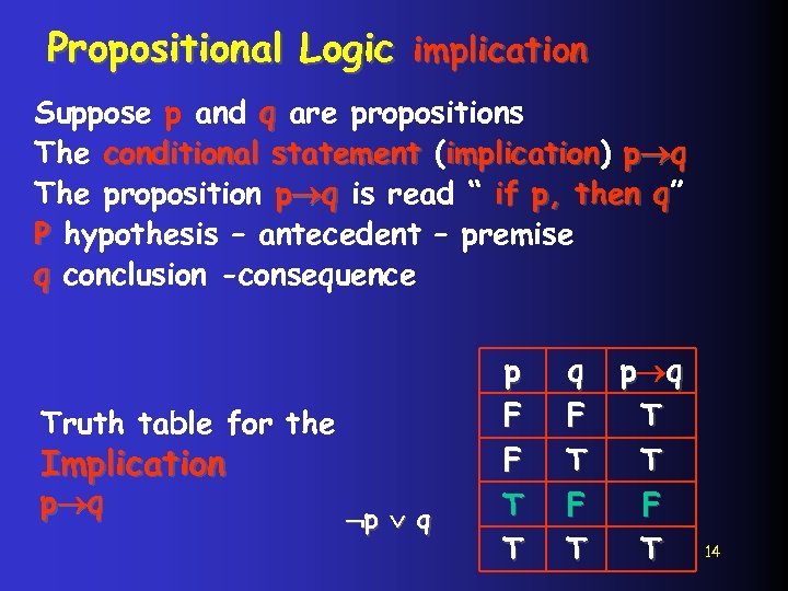 Propositional Logic implication Suppose p and q are propositions The conditional statement (implication) p