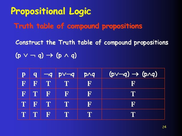 Propositional Logic Truth table of compound propositions Construct the Truth table of compound propositions