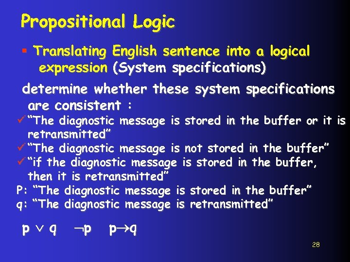 Propositional Logic § Translating English sentence into a logical expression (System specifications) determine whether