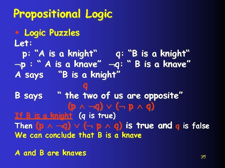 """Propositional Logic § Logic Puzzles Let: p: """"A is a knight"""" q: """"B is"""