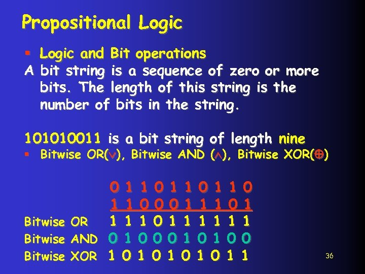 Propositional Logic § Logic and Bit operations A bit string is a sequence of