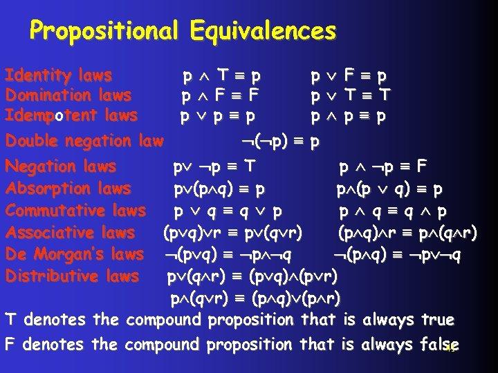 Propositional Equivalences Identity laws Domination laws Idempotent laws Double negation law p T p