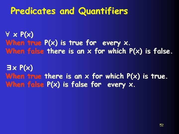 Predicates and Quantifiers ∀ x P(x) When true P(x) is true for every x.