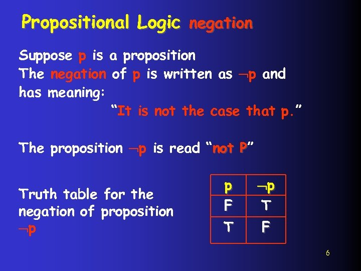 Propositional Logic negation Suppose p is a proposition The negation of p is written