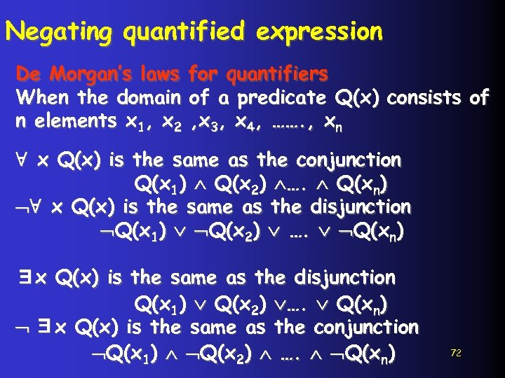Negating quantified expression De Morgan's laws for quantifiers When the domain of a predicate