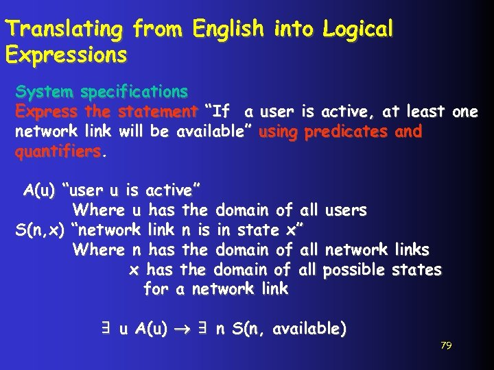 """Translating from English into Logical Expressions System specifications Express the statement """"If a user"""