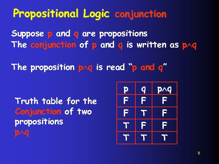 Propositional Logic conjunction Suppose p and q are propositions The conjunction of p and