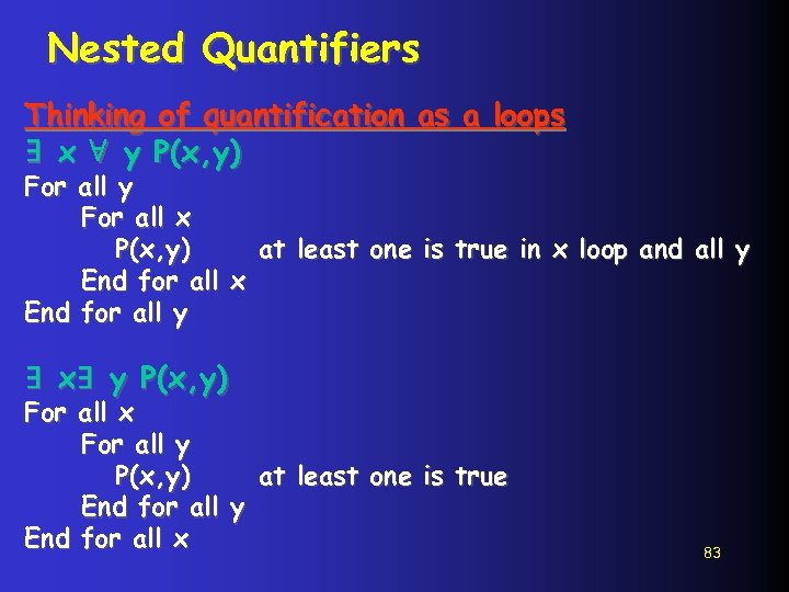 Nested Quantifiers Thinking of quantification as a loops ∃ x ∀ y P(x, y)