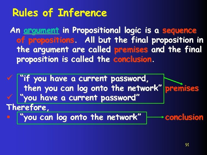 Rules of Inference An argument in Propositional logic is a sequence of propositions. All