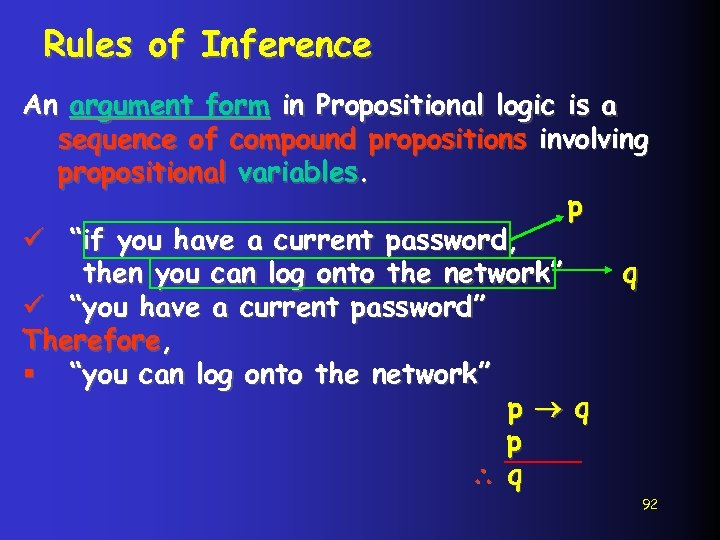 Rules of Inference An argument form in Propositional logic is a sequence of compound