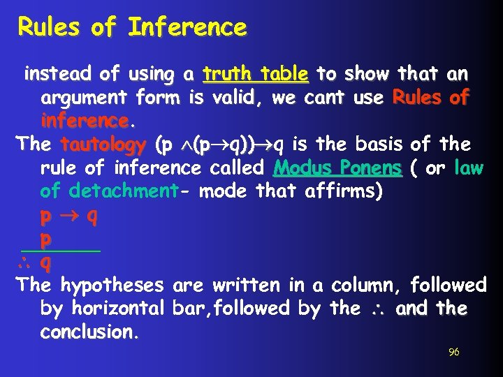 Rules of Inference instead of using a truth table to show that an argument