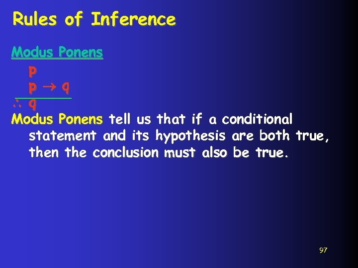 Rules of Inference Modus Ponens p p q q Modus Ponens tell us that