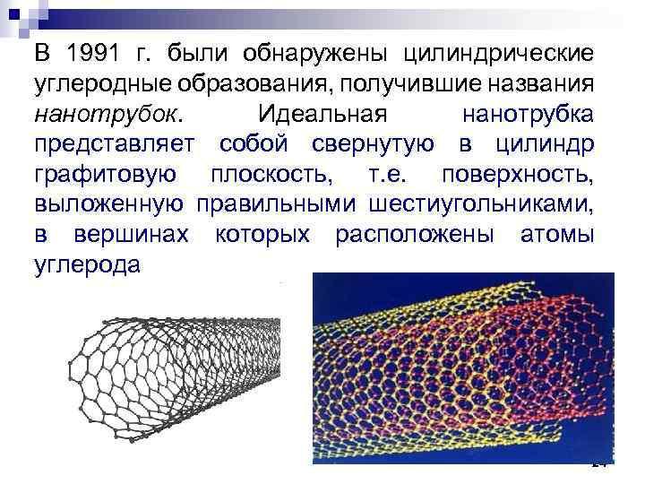 В 1991 г. были обнаружены цилиндрические углеродные образования, получившие названия нанотрубок. Идеальная нанотрубка представляет