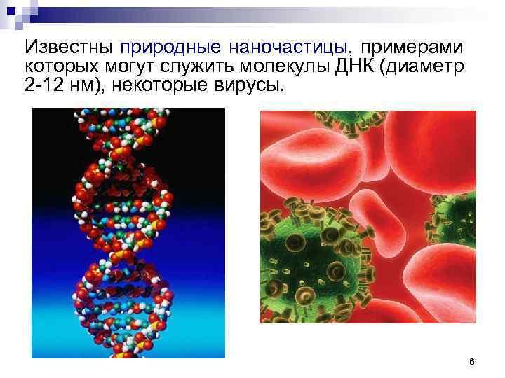 Известны природные наночастицы, примерами которых могут служить молекулы ДНК (диаметр 2 -12 нм), некоторые