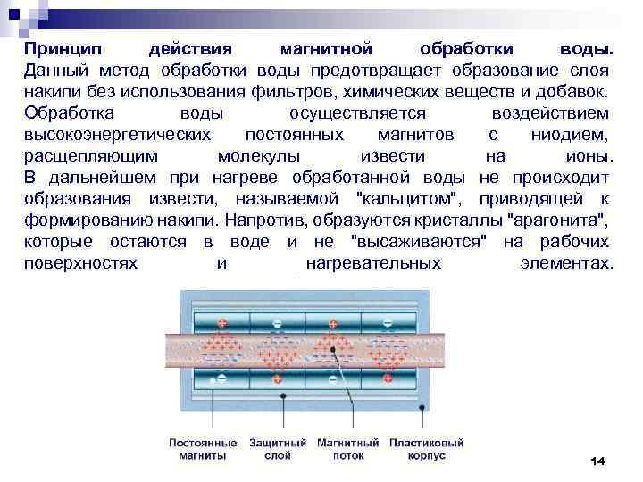 Принцип действия магнитной обработки воды. Данный метод обработки воды предотвращает образование слоя накипи без