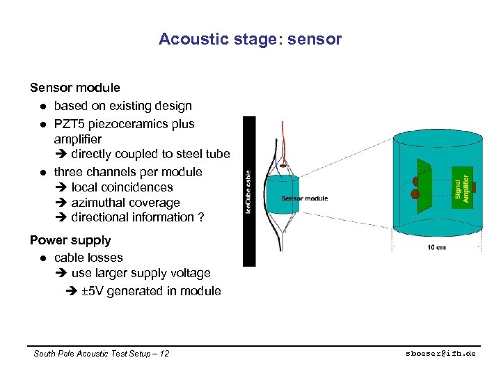 Acoustic stage: sensor Sensor module l based on existing design l PZT 5 piezoceramics