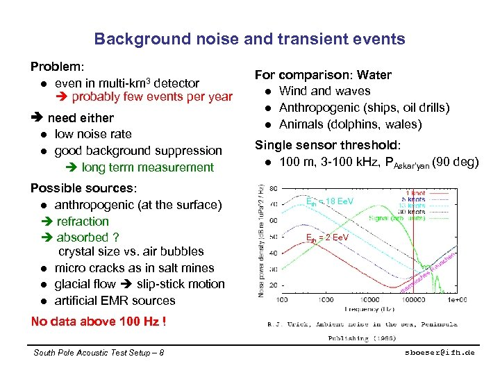 Background noise and transient events Problem: l even in multi-km 3 detector probably few
