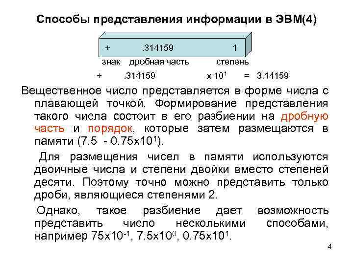 Способы представления информации в ЭВМ(4) + знак + . 314159 1 дробная часть степень
