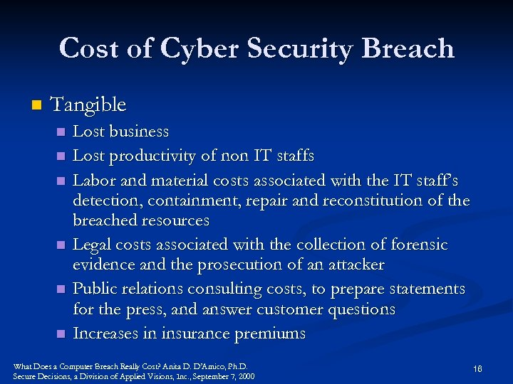 Cost of Cyber Security Breach n Tangible n n n Lost business Lost productivity