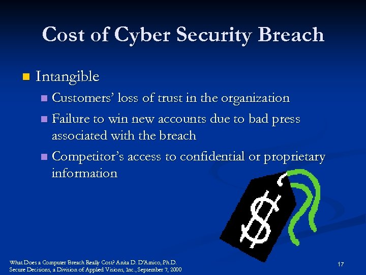 Cost of Cyber Security Breach n Intangible Customers' loss of trust in the organization