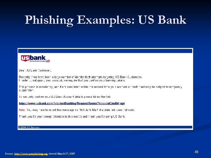 Phishing Examples: US Bank Source: http: //www. antiphishing. org, viewed March 27, 2007 45