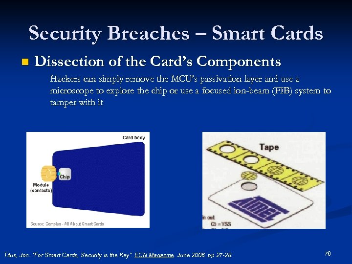 Security Breaches – Smart Cards n Dissection of the Card's Components Hackers can simply