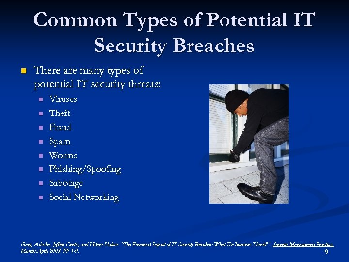Common Types of Potential IT Security Breaches n There are many types of potential