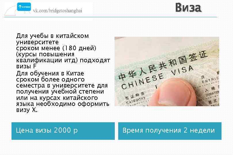 Виза Для учебы в китайском университете сроком менее (180 дней) (курсы повышения квалификации итд)